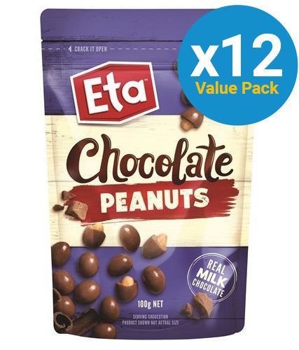 Chocolate Peanuts Pouch 100g (12 Pack)