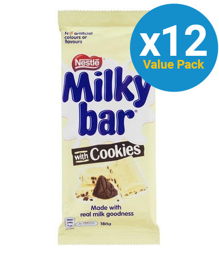 Milkybar - Milk & Cookies Block 180g (12 Pack)