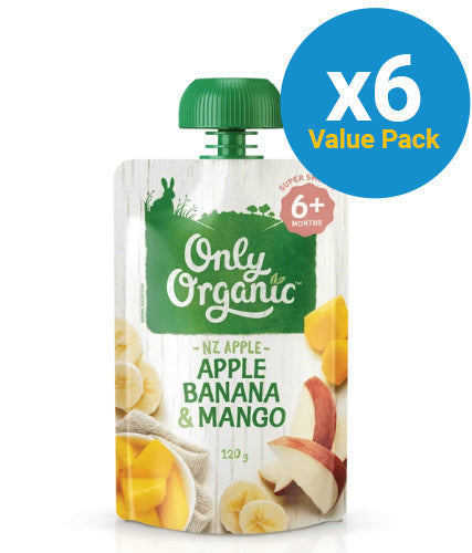 Only Organic: Stage 2 Apple/Banana/Mango (6 x 120g)