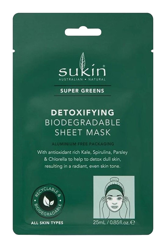 Sukin: Super Greens Detoxifying Biodegradable Sheet Mask (25ml)