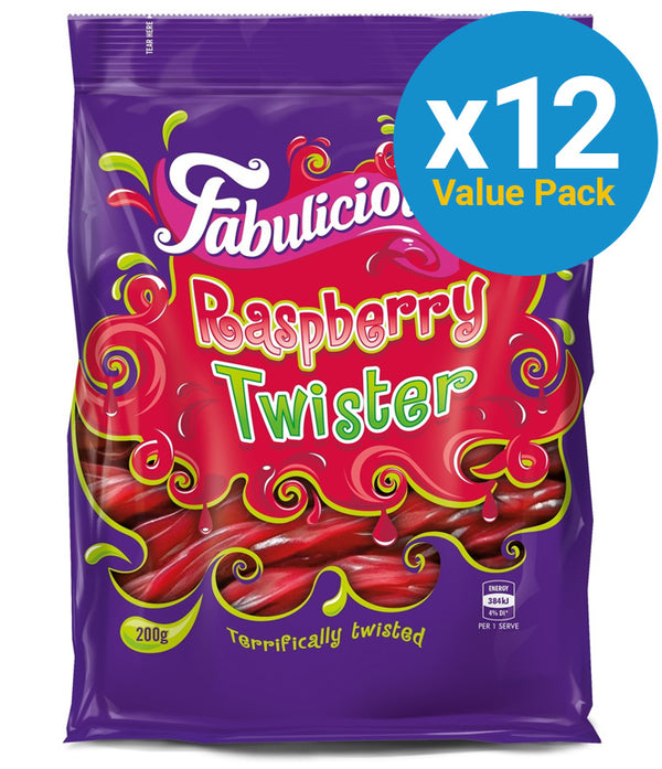 RJs Fabulicious Raspberry Twister 200g (12 Pack)