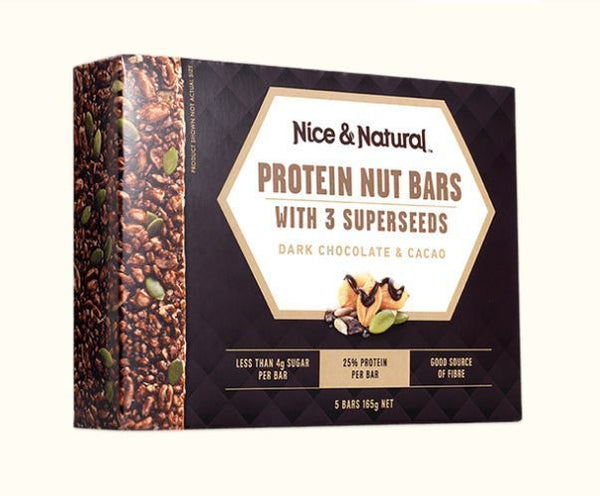Nice & Natural Protein Nut Bars - Dark Chocolate & Cacao (165g) 8pk