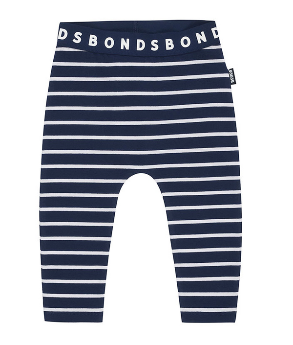 Bonds: Stretchy Leggings - Navy & White Stripe (12-18 Months)