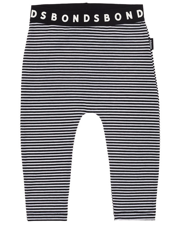 Bonds: Stretchy Leggings - Black Sea & White Stripe (3-6 Months)