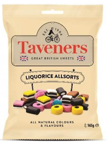 Taveners Great British Sweets Liquorice Allsorts 165g 12pk