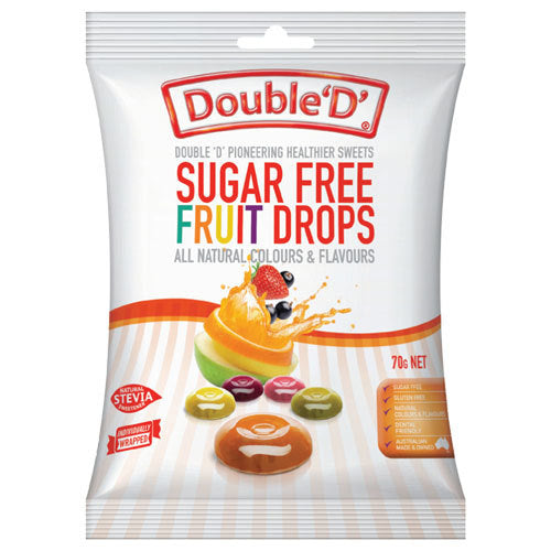 Double D Sugar Free Fruit Drops 70g 12pk