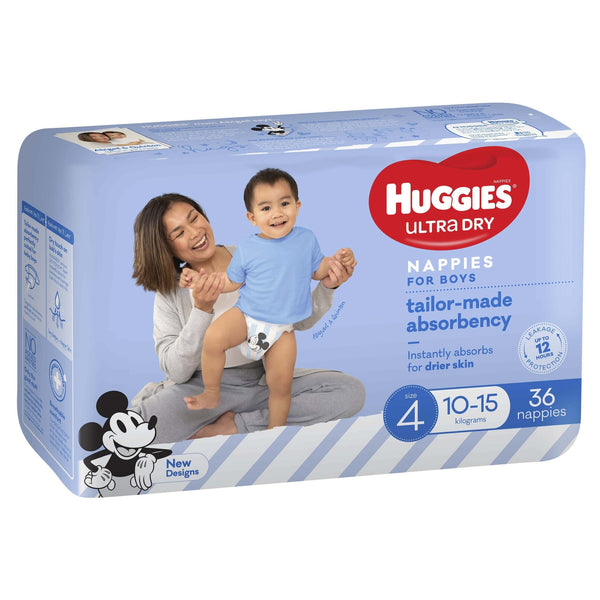 Huggies Ultra Dry Nappies Bulk - Size 4 Toddler Boy (36)
