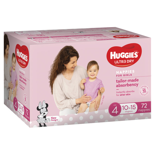 Huggies Ultra Dry Nappies Jumbo Pack - Size 4 Toddler Girl (72)