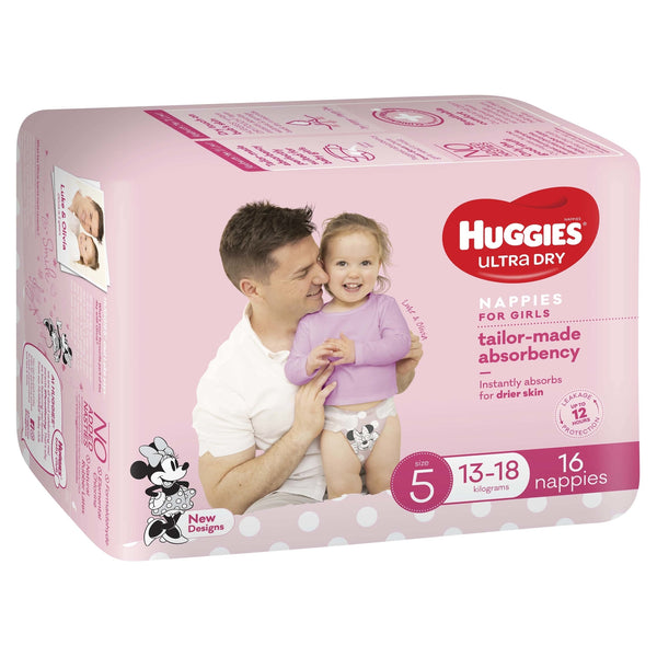 Huggies Ultra Dry Nappies - Size 5 Walker Girl (16)