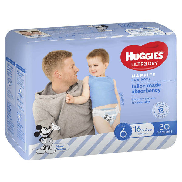 Huggies Ultra Dry Nappies Bulk - Size 6 Junior Boy (30)
