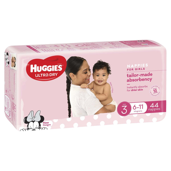 Huggies Ultra Dry Nappies Bulk - Size 3 Crawler Girl (44)