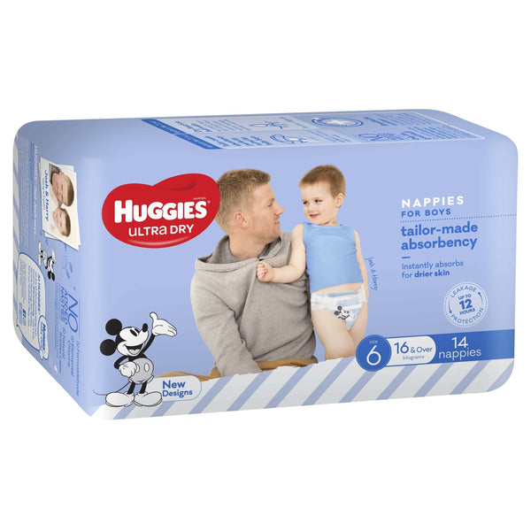 Huggies Ultra Dry Nappies - Size 6 Junior Boy (14)