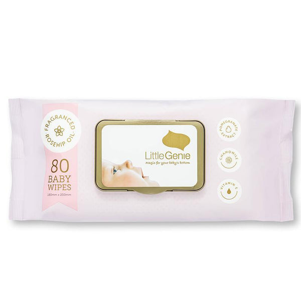 Little Genie: Rosehip Fragranced Baby Wipes (80 Pack)