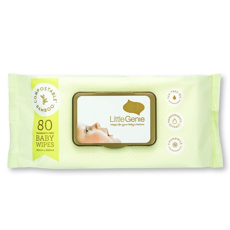 Little Genie: Compostable Fragrance Free Baby Wipes (80 Pack)