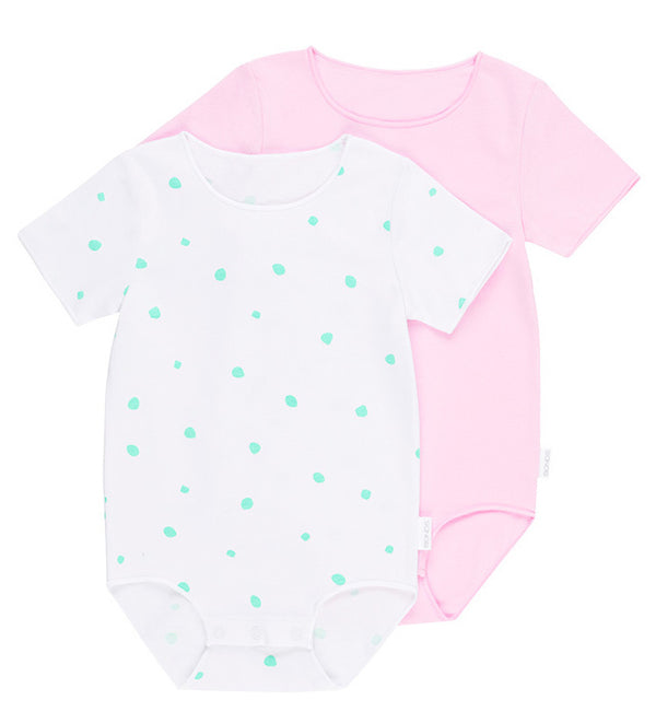 Bonds Wonderbodies Short Sleeve - Cool Bananas Spot White/ Cotton Gumball Pink (Premature)
