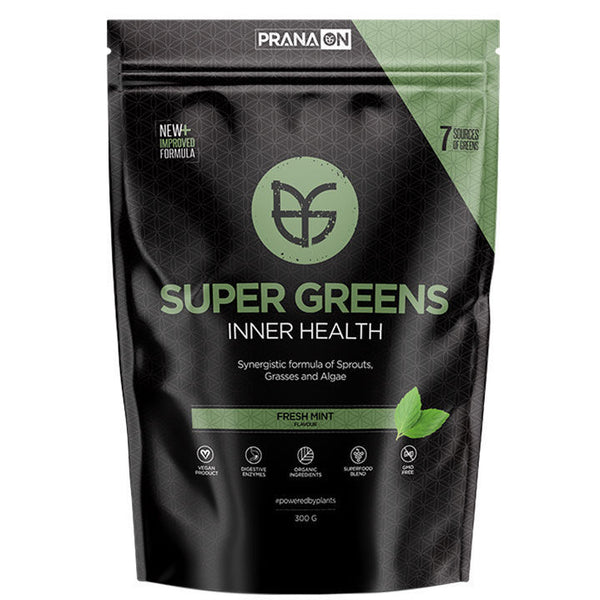 PranaOn Super Greens Inner Health - Fresh Mint (300g)