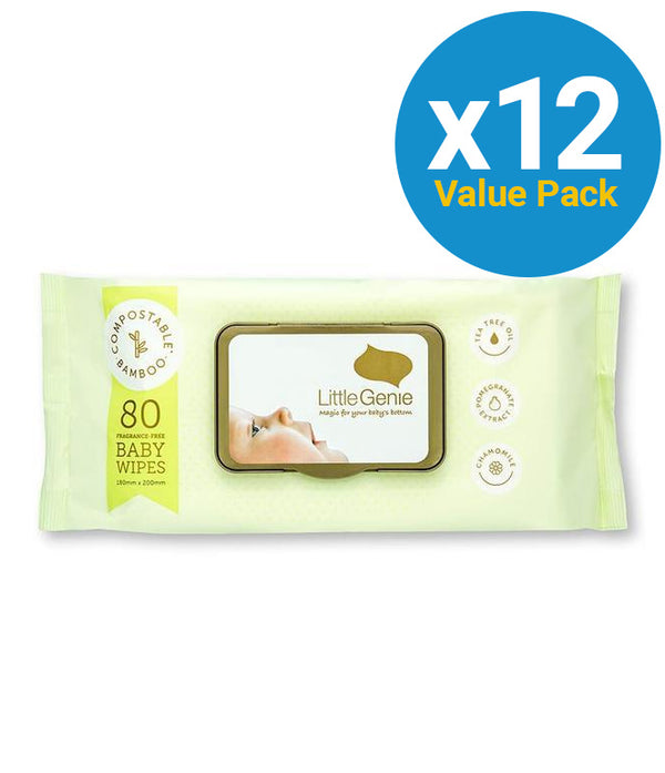 Little Genie: Compostable Fragranced Baby Wipes (12x80 wipes))