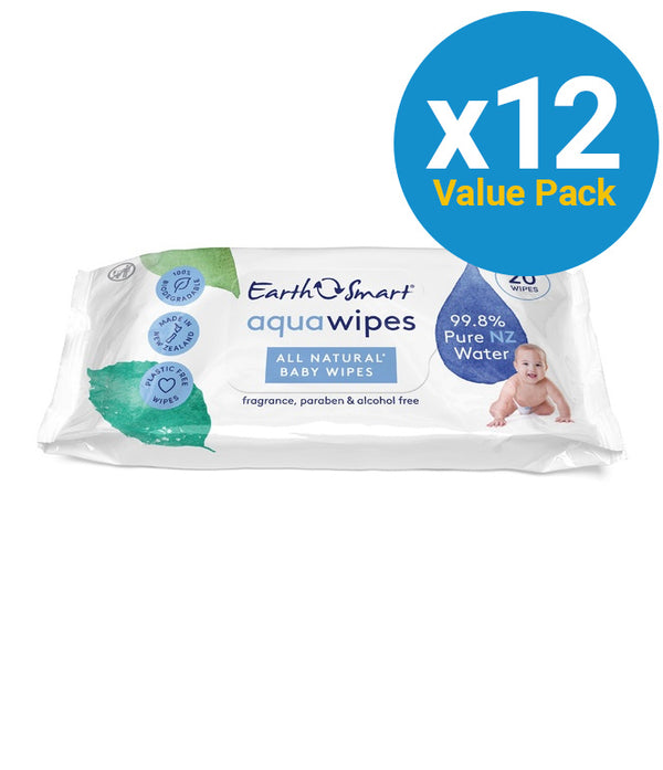 EarthSmart: Aqua Wipes - All Natural Travel Pack (12 packs of 20 wipes)
