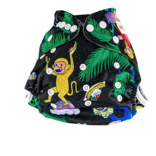 Little Genie: Reusable Charcoal Nappy - Monkey Print