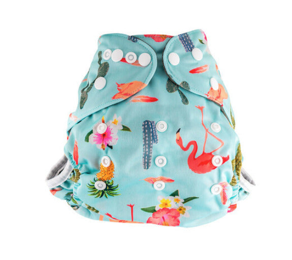 Little Genie: Reusable Charcoal Nappy - Flamingo Print