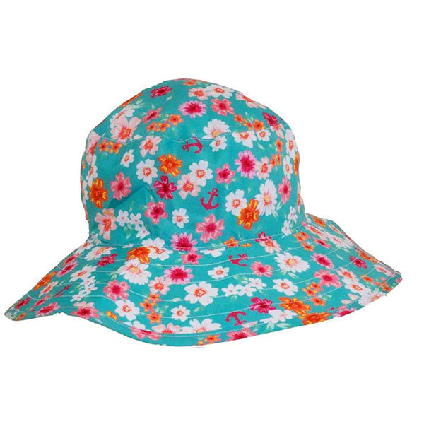 Banz Carewear: Reversible Sunhat - Floral Mint/Turquoise (2-5 years)