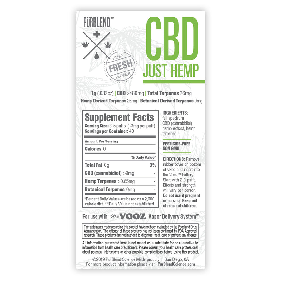 CBD+ Just Hemp, 480mg Fresh Flower Full Spectrum CBD Hemp Oil