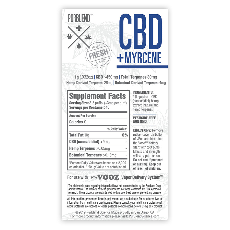 CBD+ Myrcene, 450mg Fresh Flower Full Spectrum CBD Hemp Oil