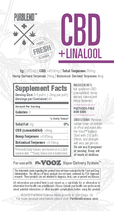 CBD+ Linalool, 450mg Fresh Flower Full Spectrum CBD Hemp Oil