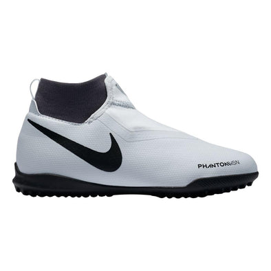 Nike Junior Phantom VSN Academy DF TF JR Turf Artificial Ground Soccer Shoe- Grey/Black/Red