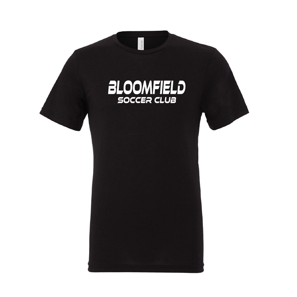 Bloomfield SC (Club Name) Bella + Canvas Short Sleeve Triblend T-Shirt Solid Black