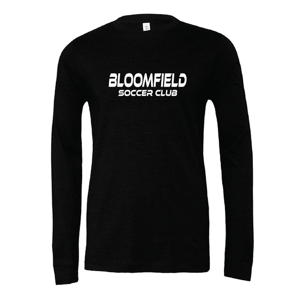 Bloomfield SC (Club Name) Bella + Canvas Long Sleeve Triblend T-Shirt Heather Black