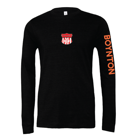 Boynton United (Patch) Bella + Canvas Long Sleeve Triblend T-Shirt Heather Black