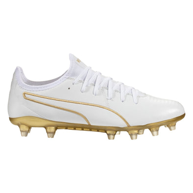 Puma King Pro Firm Ground Soccer Cleat - White / Team Gold