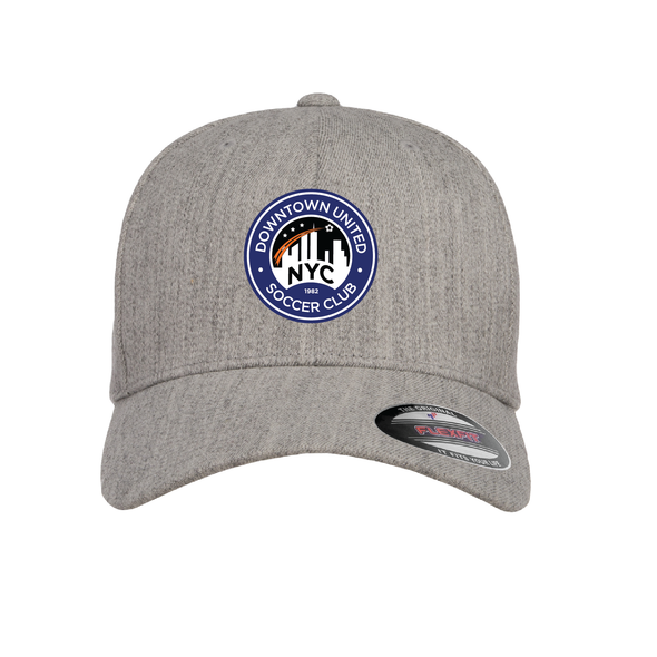 DUSC FAN (Logo) Flexfit Wool Blend Fitted Cap Heather Grey