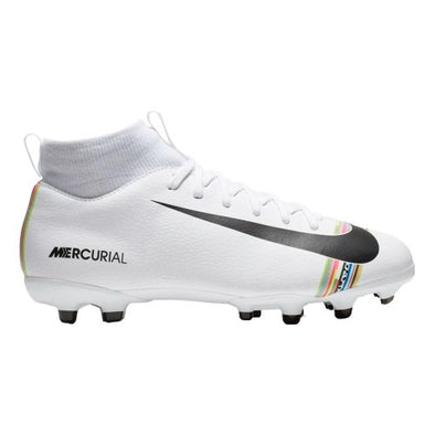 Nike Youth Mercurial Superfly VI Academy Multi-Ground Cleats (WHITE/BLACK/PURE PLATINUM)