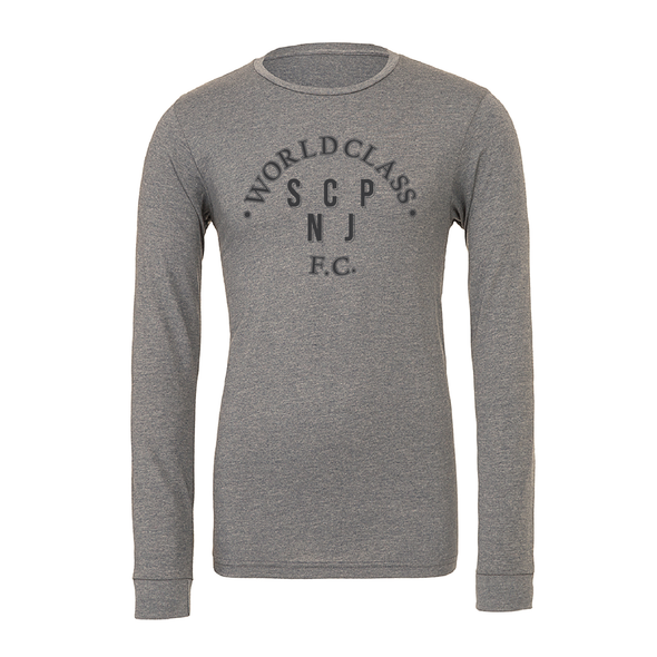 World Class SCP (Club Name) Bella + Canvas Long Sleeve Triblend T-Shirt Grey