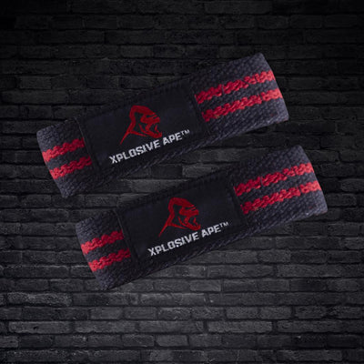 XPLOSIVEAPE PULLING STRAPS - BLACK WITH RED STRIPES