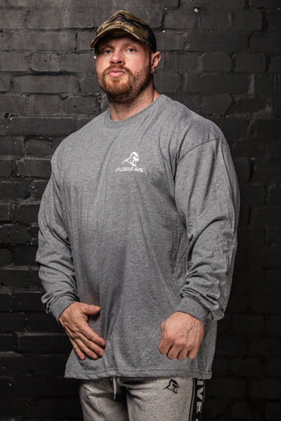 APE ULTIMATE LONG SLEEVE JERSEY TEE - GRAPHITE HEATHER