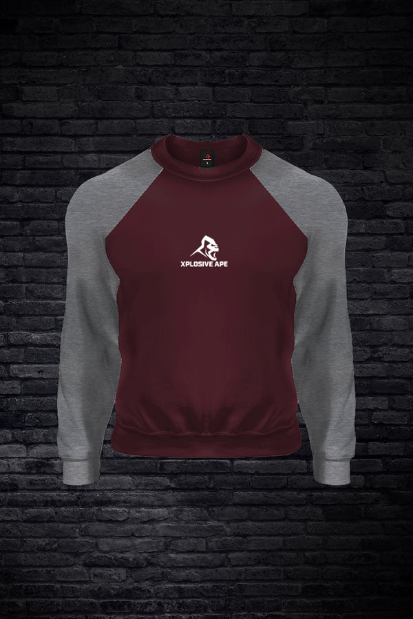 APE BASEBALL SWEATSHIRT - BURGUNDY / CHARCOAL
