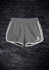 WOMENS INTERLOCK RUNNING SHORTS - ASPHALT GREY WITH WHITE PIPING