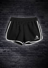 LADIES INTERLOCK RUNNING SHORTS - BLACK WITH WHITE PIPING
