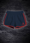 LADIES INTERLOCK RUNNING SHORTS - NAVY WITH RED PIPING