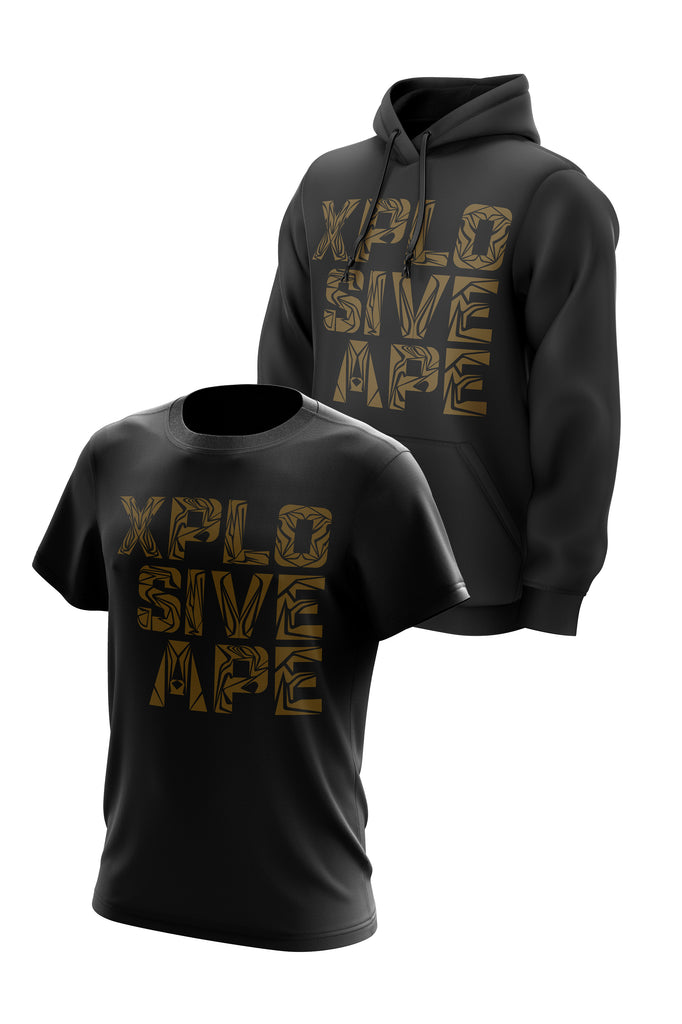 XAPE GOLD TRIBAL STACKED HOODIE & TEE COMBO