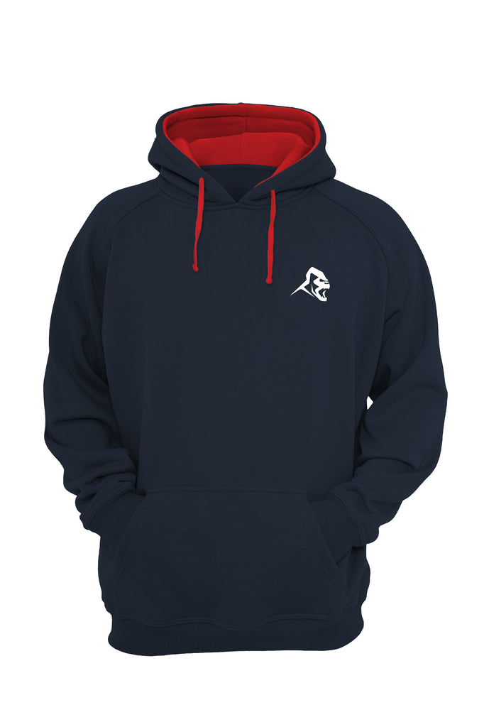 XAPE VARSITY HOODIE - FRENCH NAVY/FIRE RED