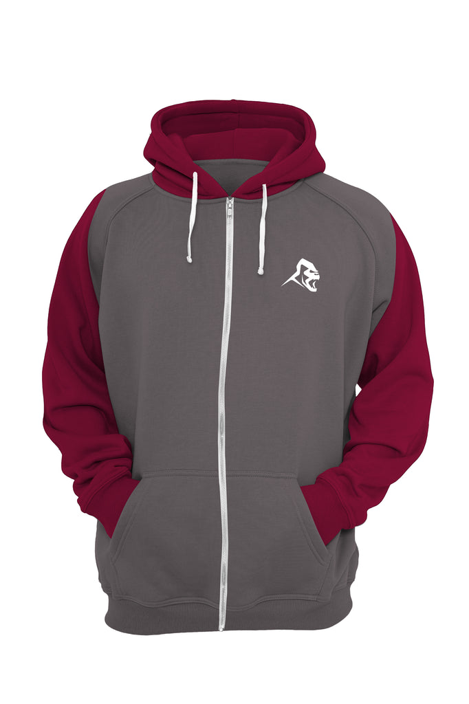 XAPE RETRO ZIPPED HOODIE -  CHARCOAL/BURGUNDY