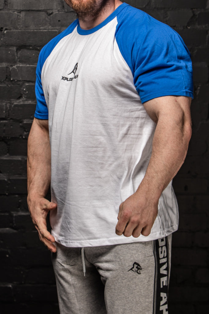 APE ULTIMATE SHORT SLEEVE BASEBALL TEE - WHITE / ROYAL BLUE