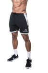 APE VARSITY SHORTS - BLACK WITH GREY PIPELINE
