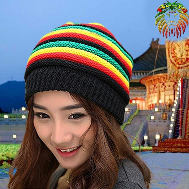 Bonnet A rayures Rasta long baggy  | Rasta Lion