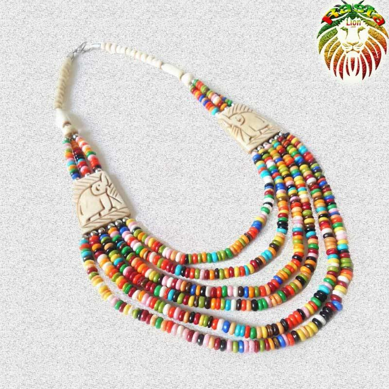 Collier Perles Multicolores | Rasta-Lion