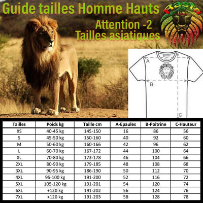 "Guide des tailles T-shirt Bob Marley ""One Love"" 